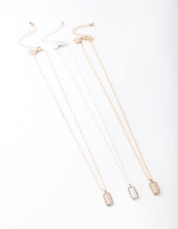 Mixed Metal Diamante Tag Necklace 3 Pack - link has visual effect only
