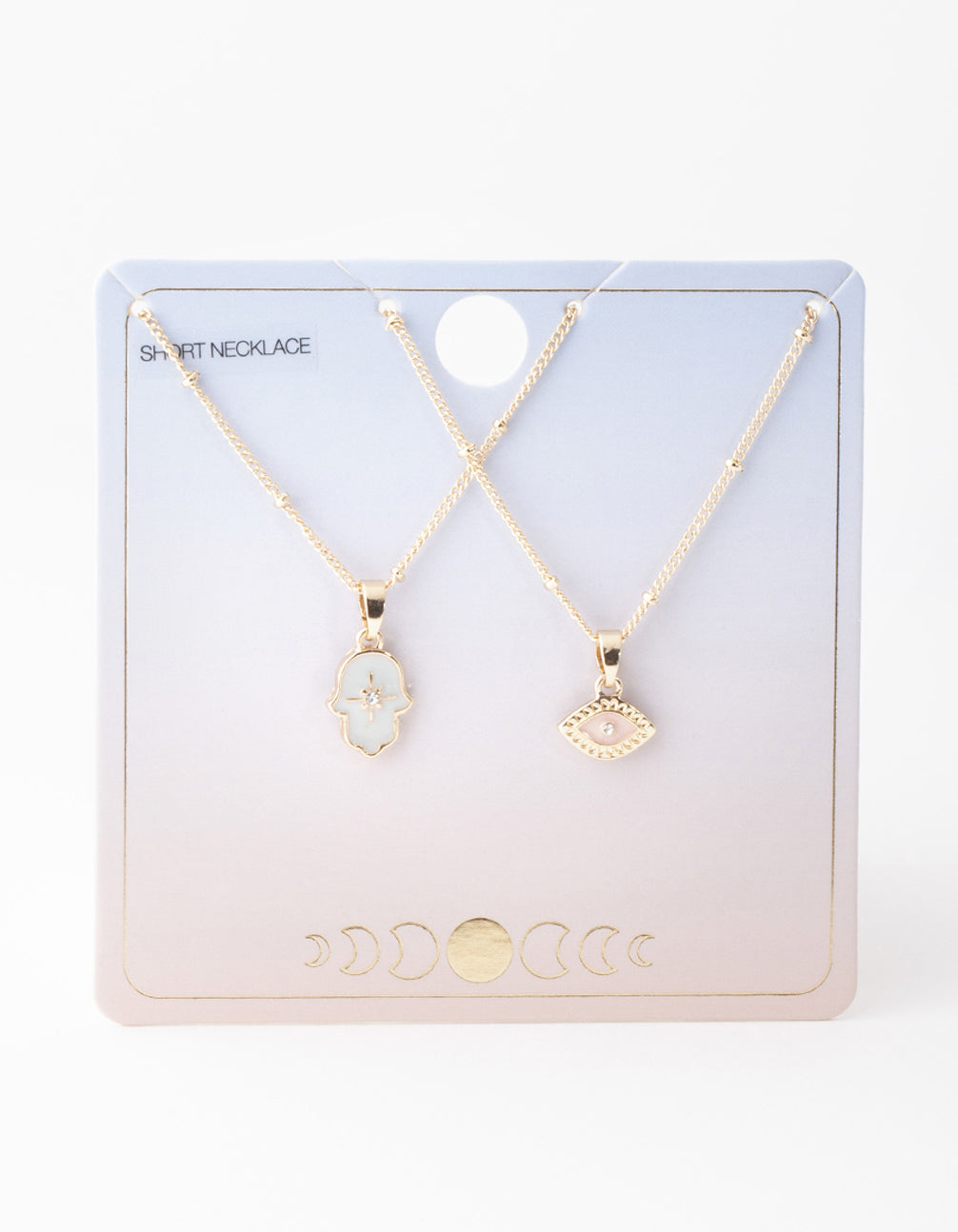 Gold Evil Eye and Hamsa Hand Necklace 2 Pack