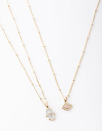 Gold Evil Eye and Hamsa Hand Necklace 2 Pack - link has visual effect only