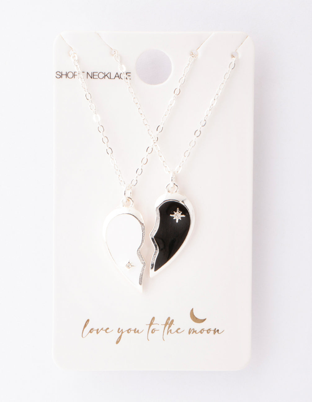 Silver Black and White Half Heart Yin and Yang Necklace 2 Pack