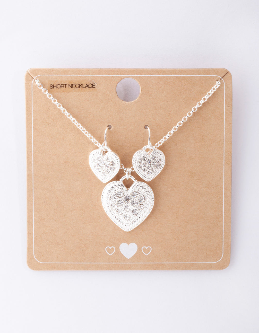 Silver Diamante Heart Necklace and Earring Pack