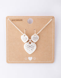 Silver Diamante Heart Necklace and Earring Pack - link has visual effect only