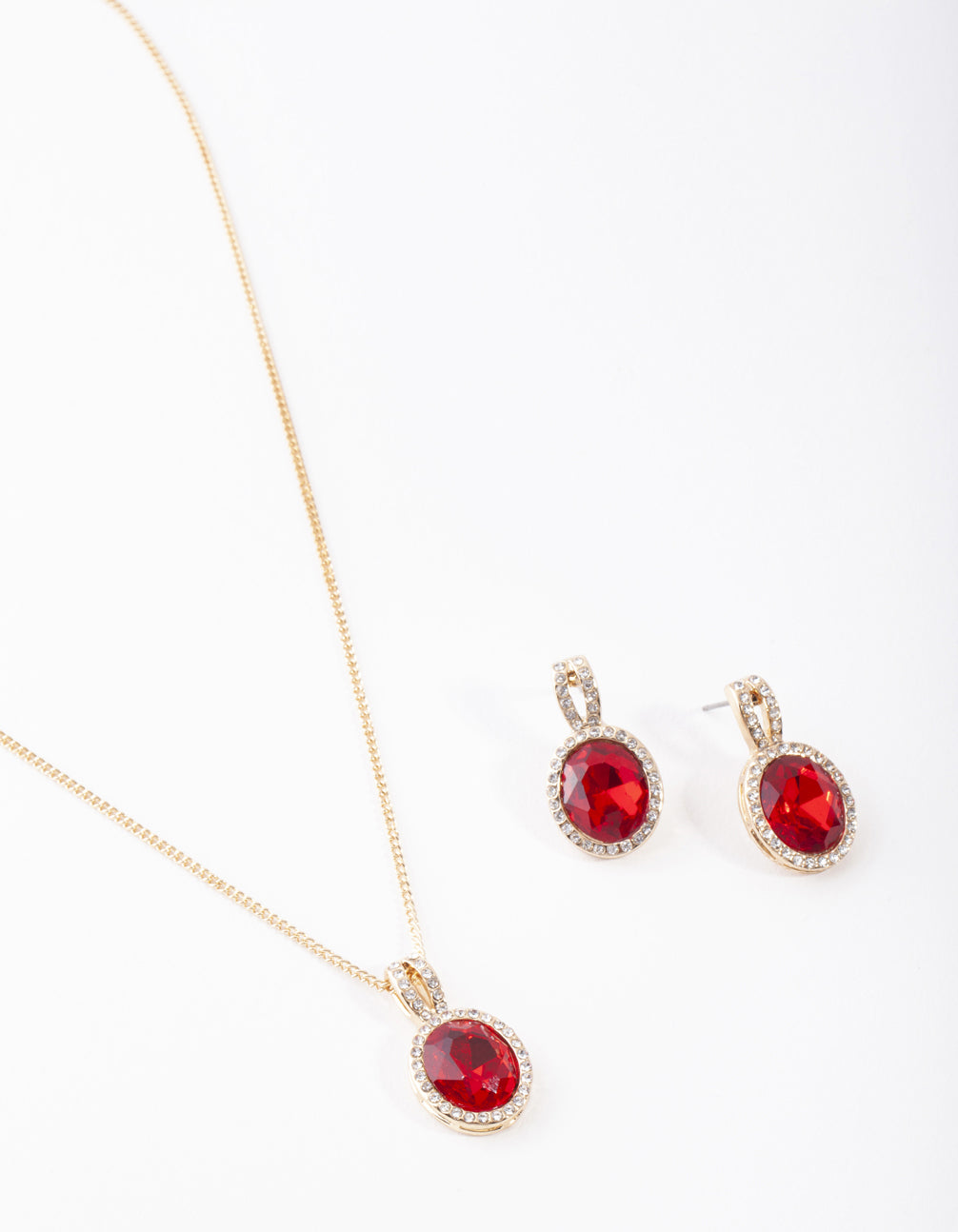 Gold Red Halo Necklace and Earring Set