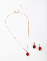 Gold Red Halo Necklace and Earring Set - link has visual effect only