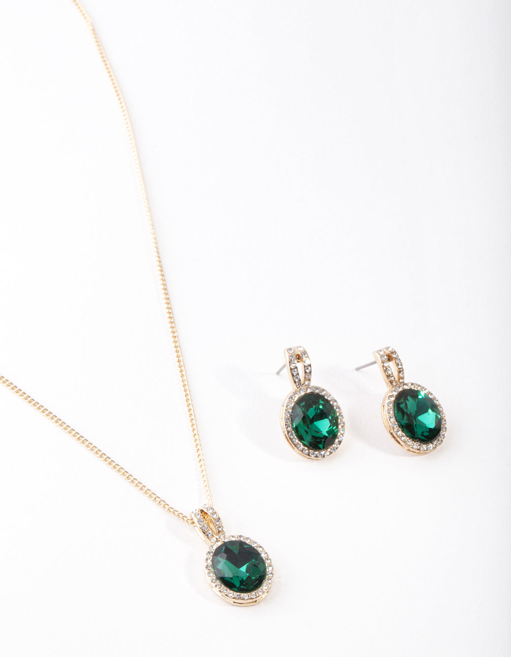 Gold Green Halo Necklace and Earring Set