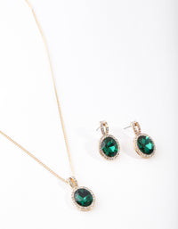 Gold Green Halo Necklace and Earring Set - link has visual effect only