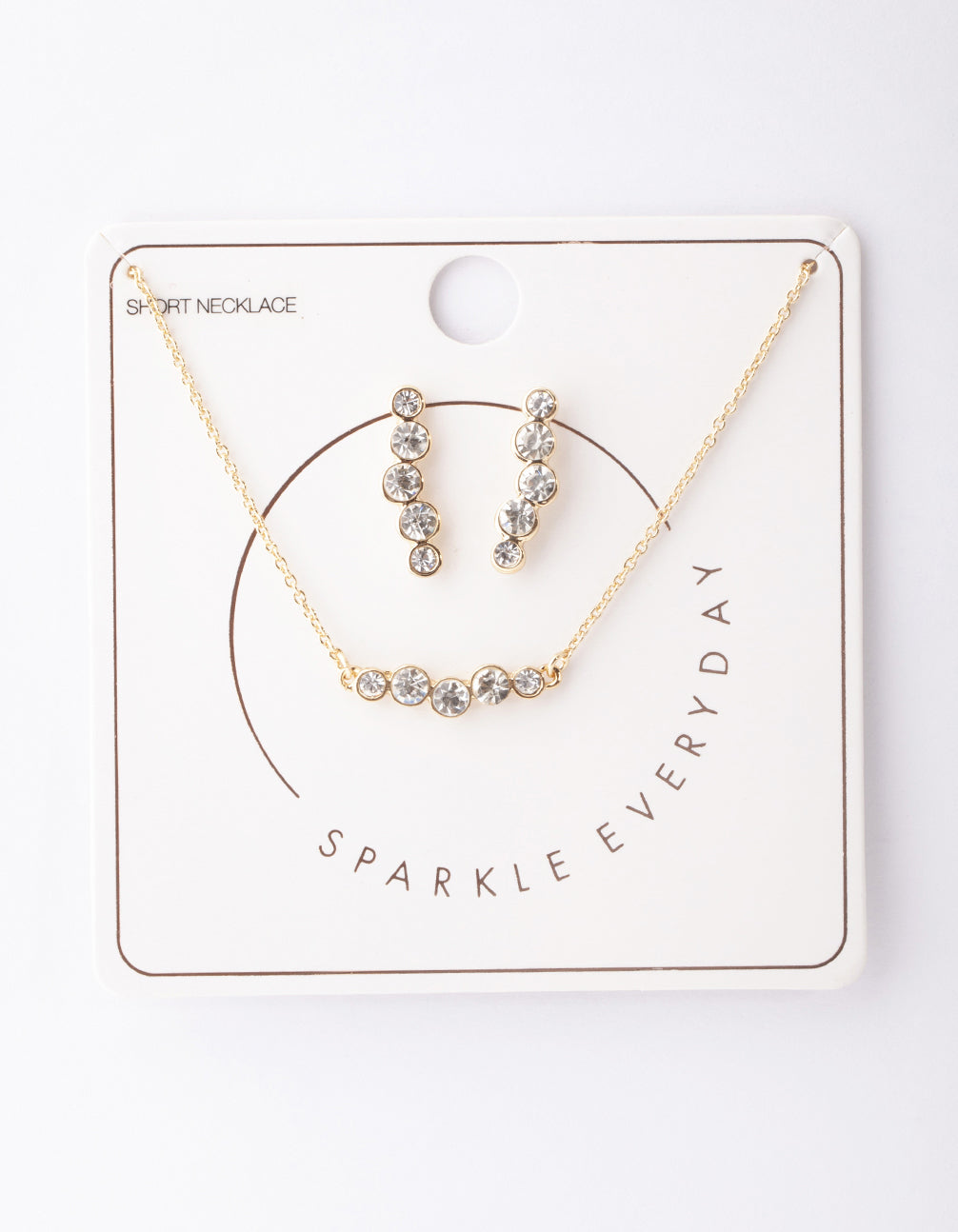 Gold Circle Diamante Crawler Necklace and Earring Set