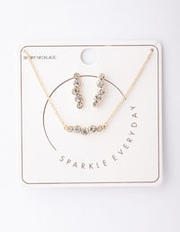 Gold Circle Diamante Crawler Necklace and Earring Set - link has visual effect only