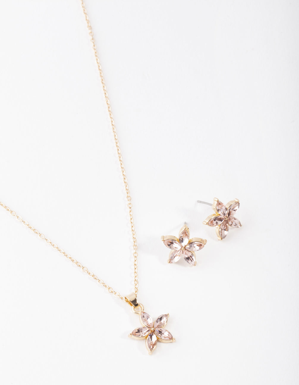 Gold Pink Flower Earring and Necklace Set