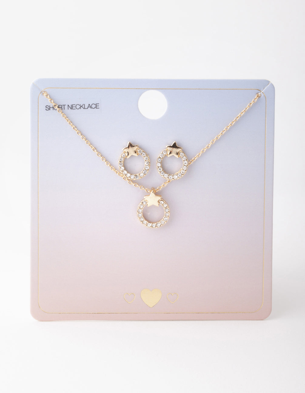 Gold Open Circle Diamante Necklace and Earrings Set