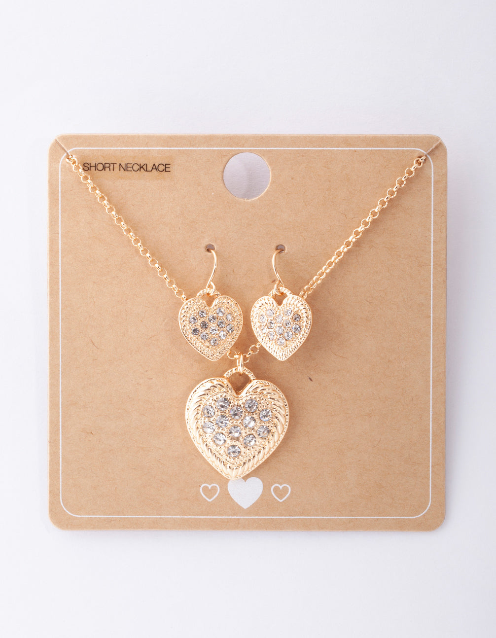 Gold Diamante Heart Necklace and Earring Set