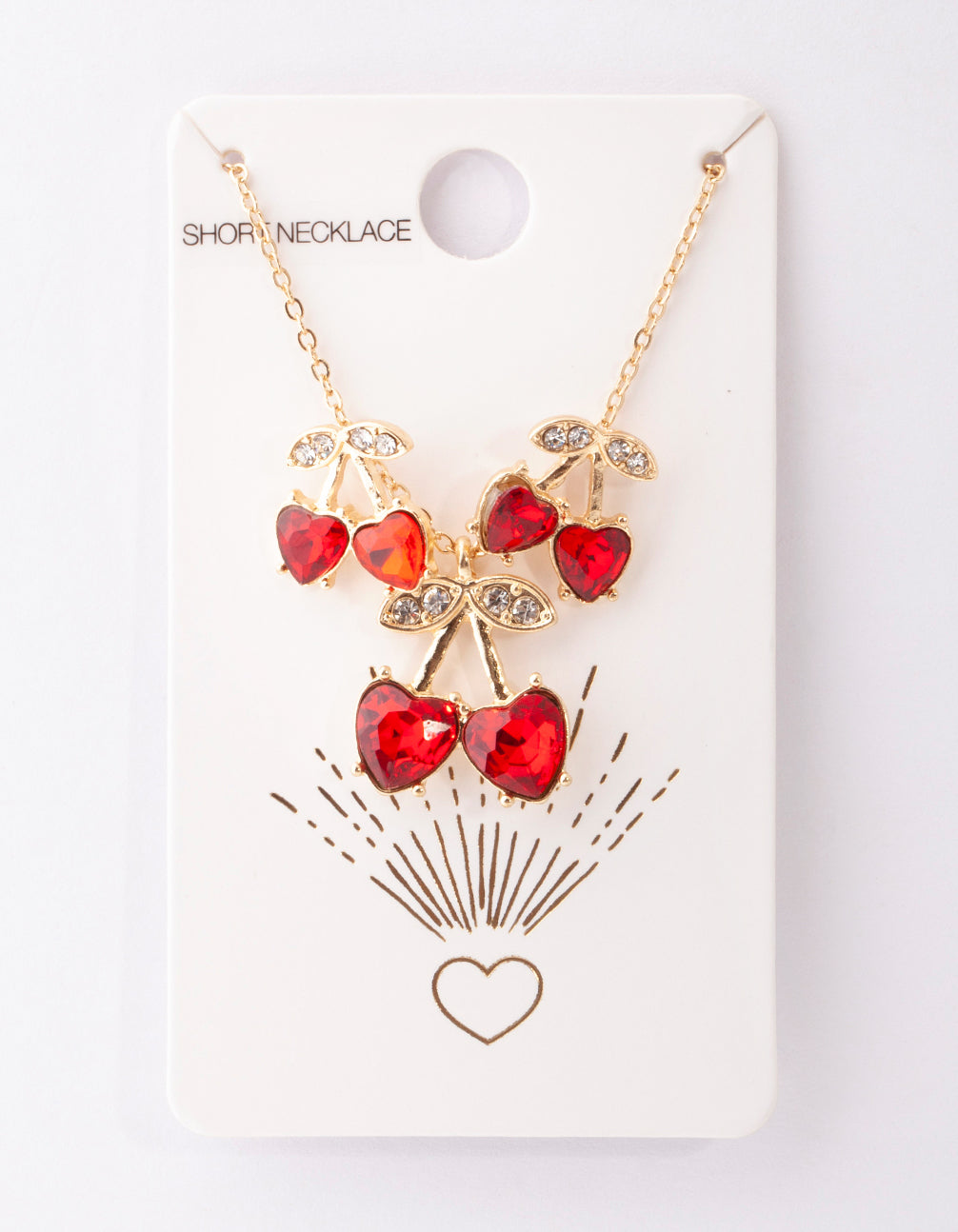 Gold Red Cherry Diamante Necklace and Earring Set