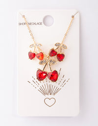 Gold Red Cherry Diamante Necklace and Earring Set - link has visual effect only