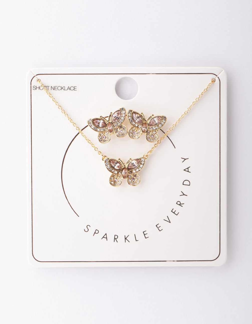 Gold Diamante Butterfly Necklace and Earring Set