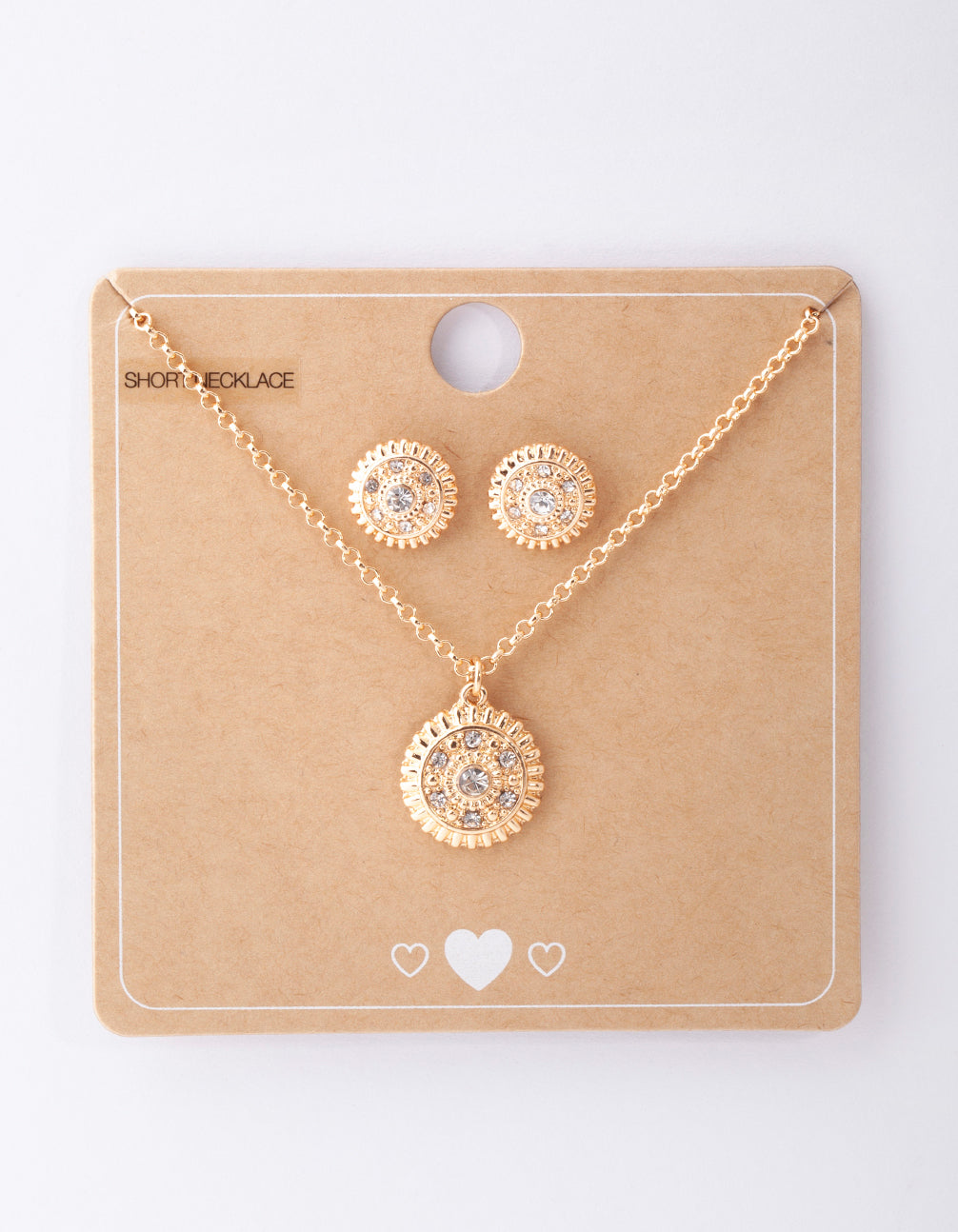 Gold Diamante Textured Necklace and Earring Set