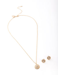 Gold Diamante Textured Necklace and Earring Set - link has visual effect only