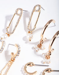 Gold Diamante Safety Pin Earring Pack - link has visual effect only
