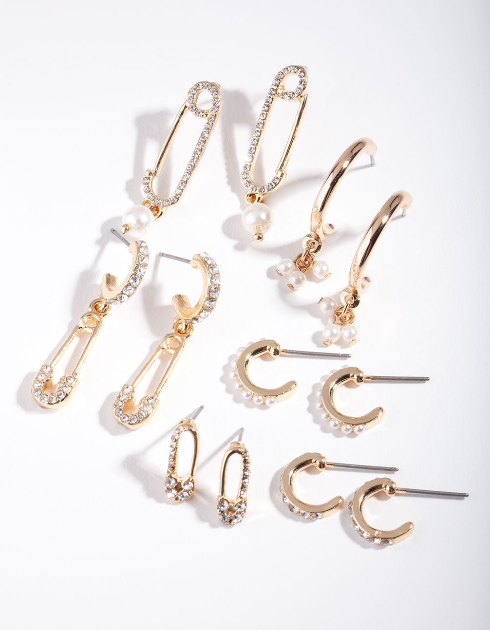 Gold Diamante Safety Pin Earring Pack