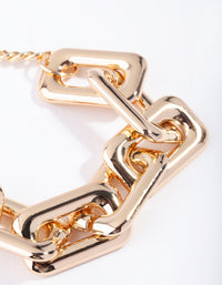 Gold Rectangle Link Bracelet - link has visual effect only