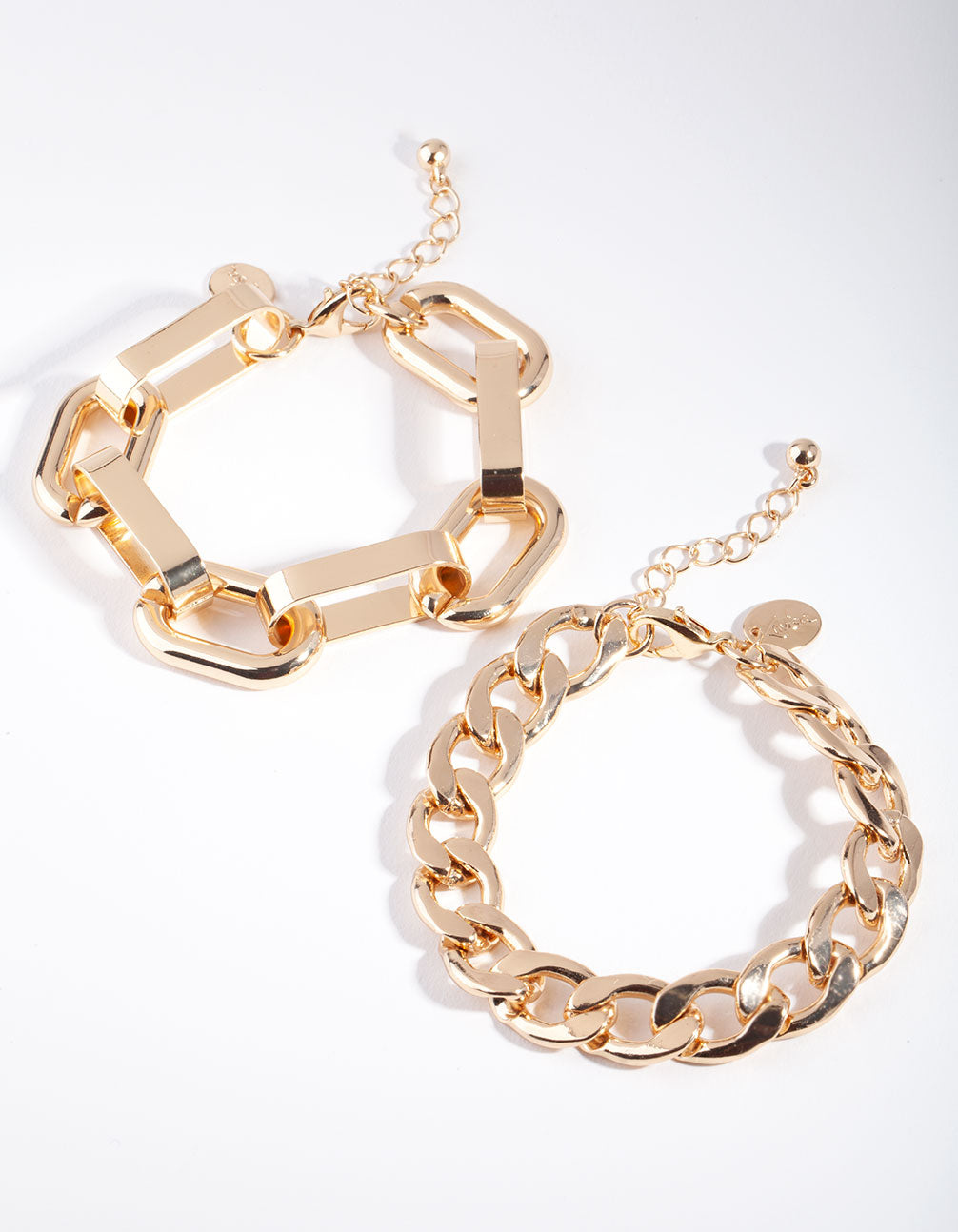 Gold Curb and Chunky Chain Link Bracelet 2 Pack
