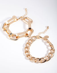 Gold Curb and Chunky Chain Link Bracelet 2 Pack - link has visual effect only