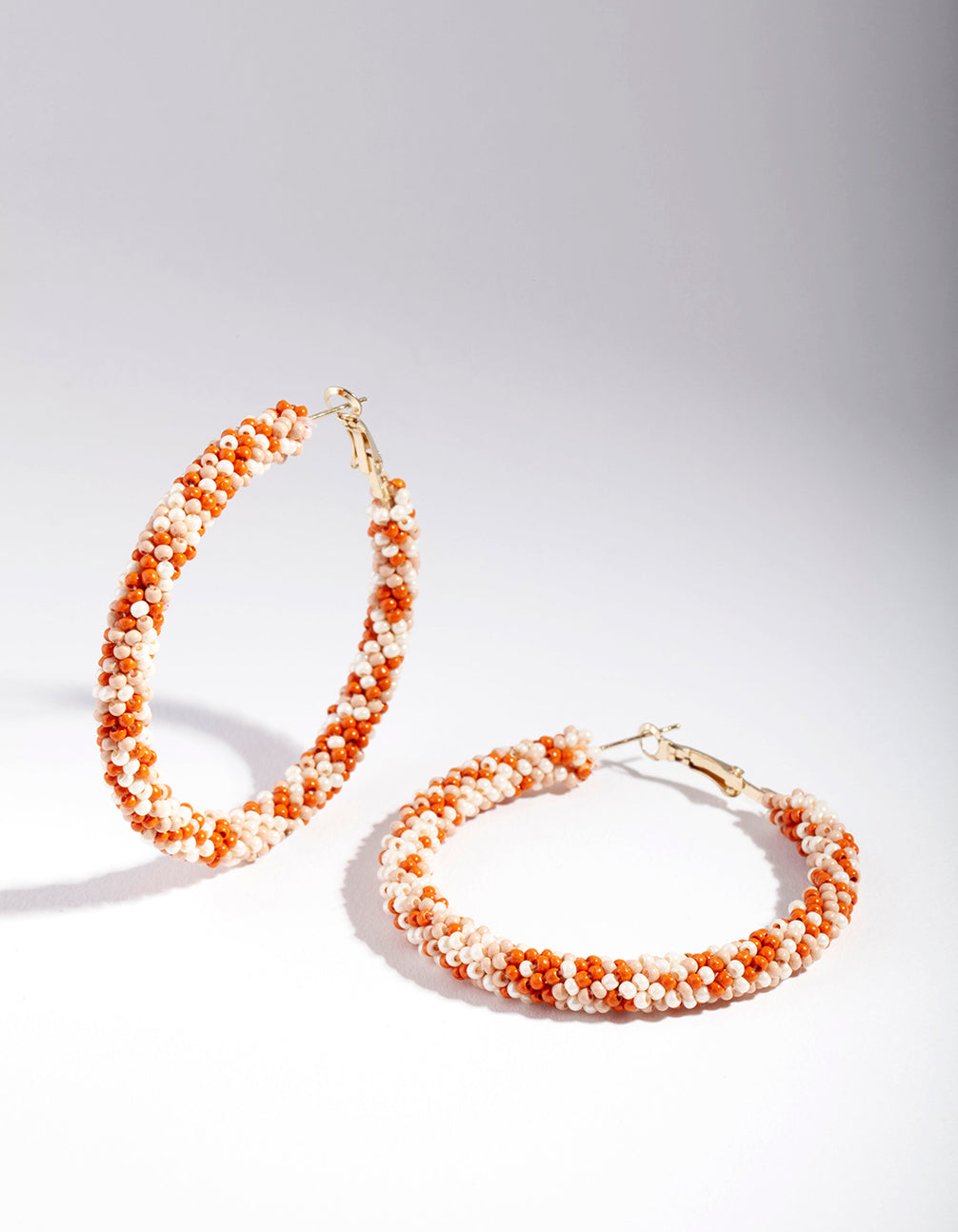 Gold Orange Bead Hoop Earring