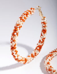 Gold Orange Bead Hoop Earring - link has visual effect only
