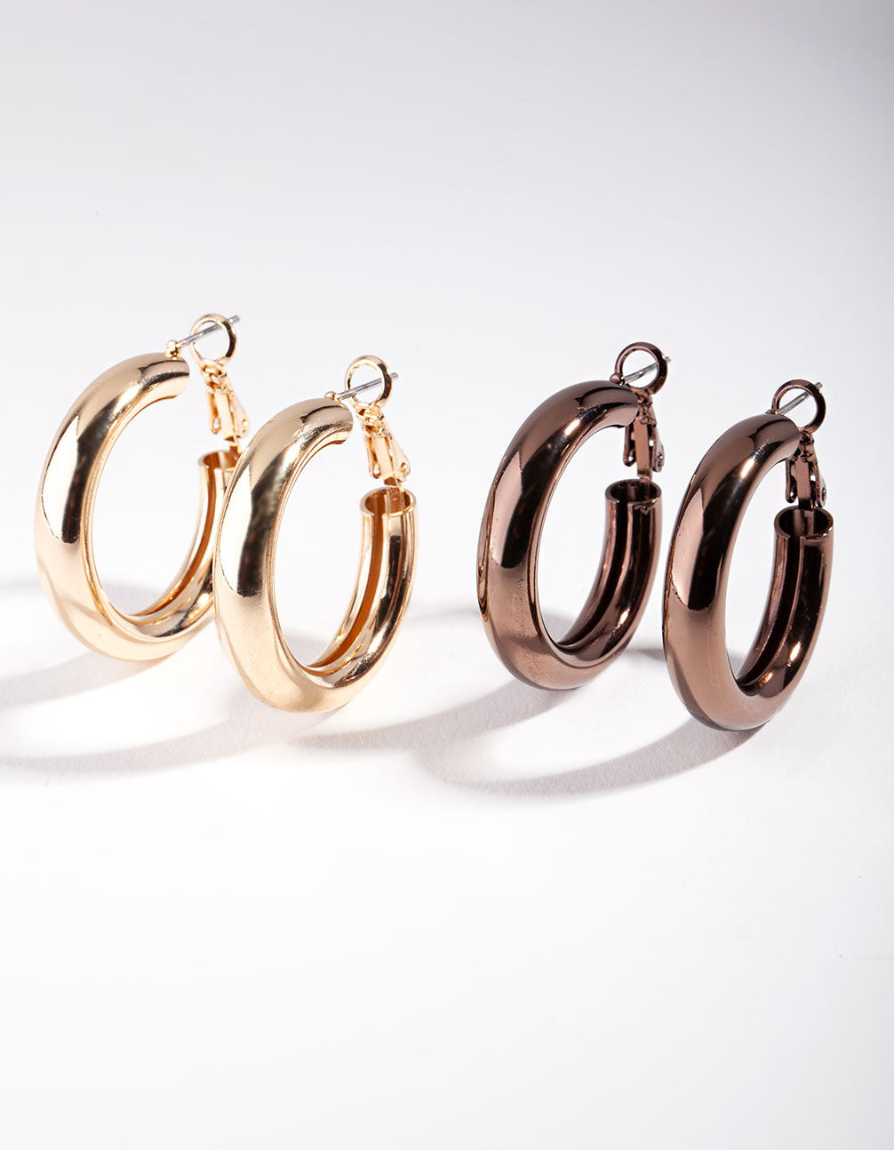 Gold and Brown Tube Hoop Earring 2 Pack