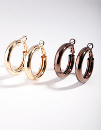 Gold and Brown Tube Hoop Earring 2 Pack - link has visual effect only