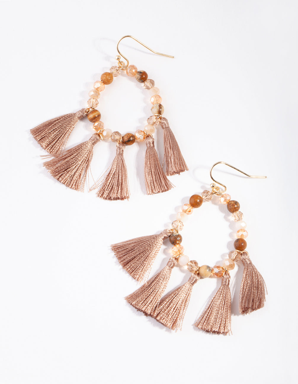 Gold Brown Beaded and Tassel Drop Earring