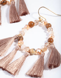 Gold Brown Beaded and Tassel Drop Earring - link has visual effect only