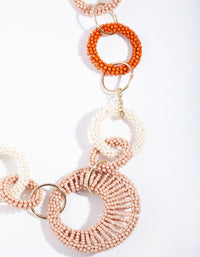 Gold Multi Bead Interlock Hoop Necklace - link has visual effect only