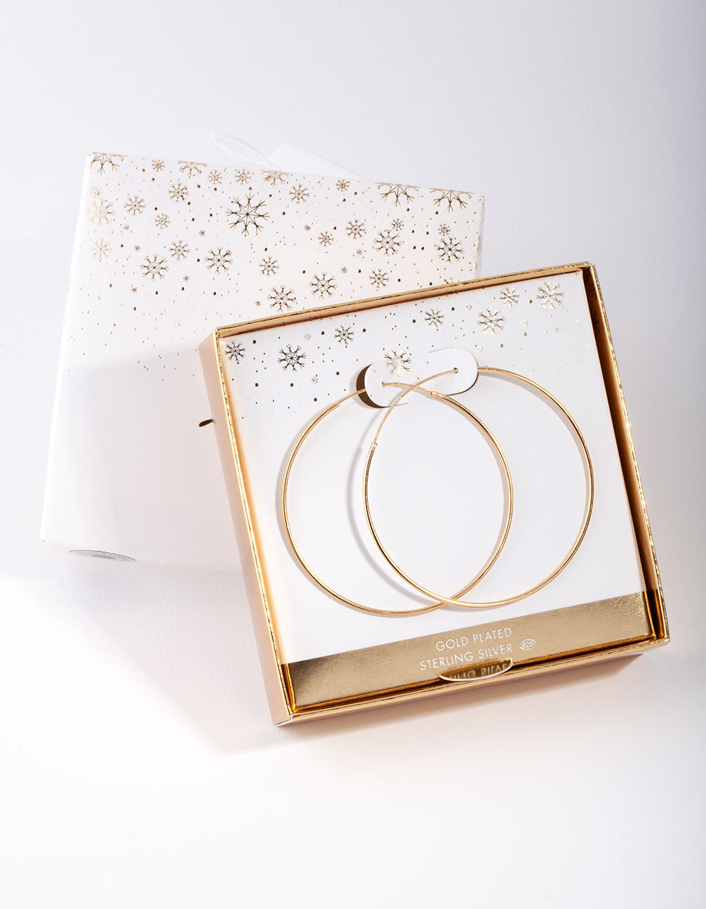 Gold Plated Sterling Silver 50mm Plain Hoop Earring