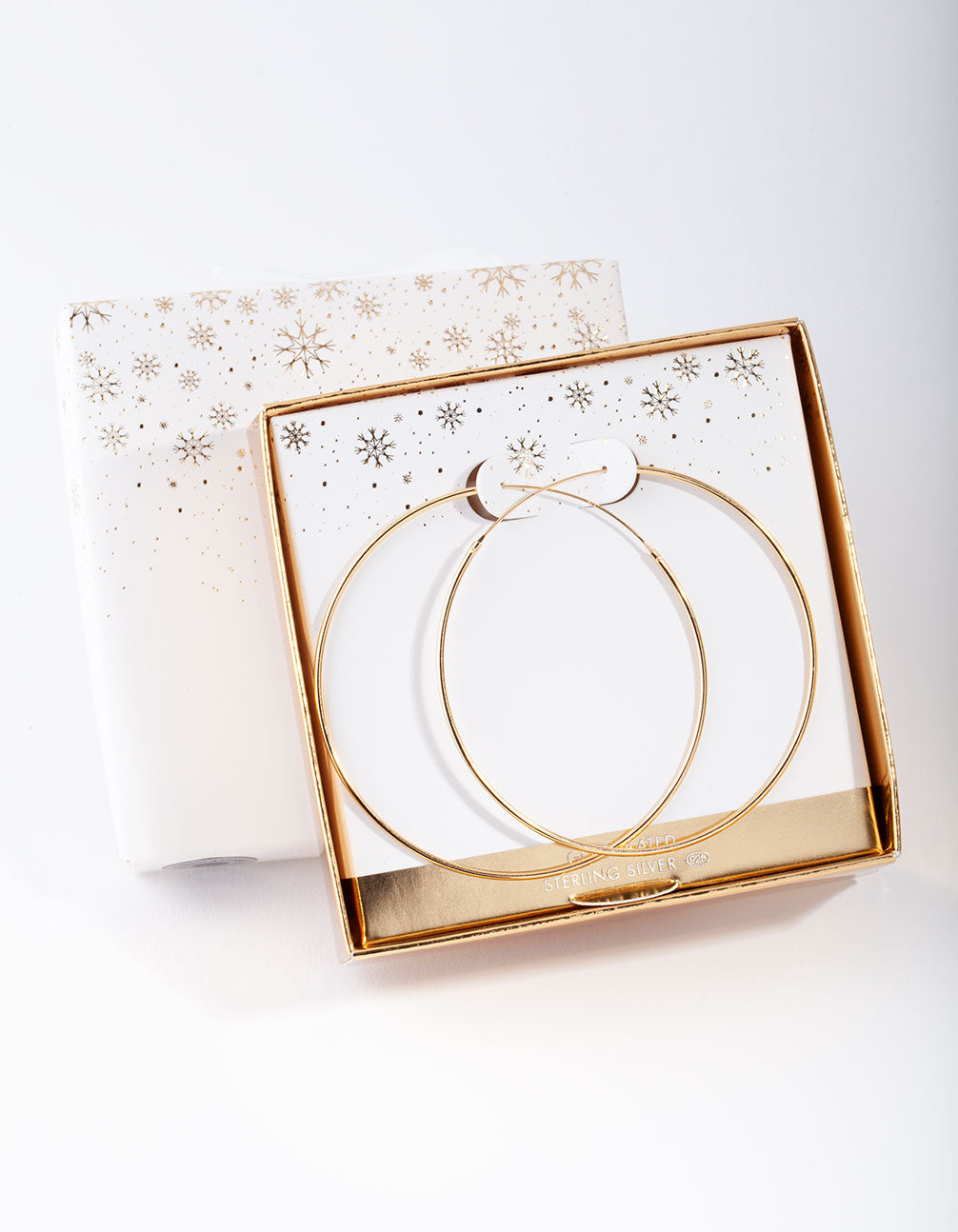 Gold Plated Sterling Silver 60mm Plain Hoop Earring