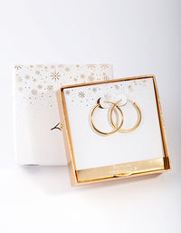Gold Plated Sterling Silver 25mm Thick Hoop Earring - link has visual effect only