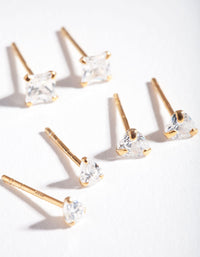 Gold Plated Sterling Silver Mix Cut Cubic Zirconia Stud Earring 3 Pack - link has visual effect only
