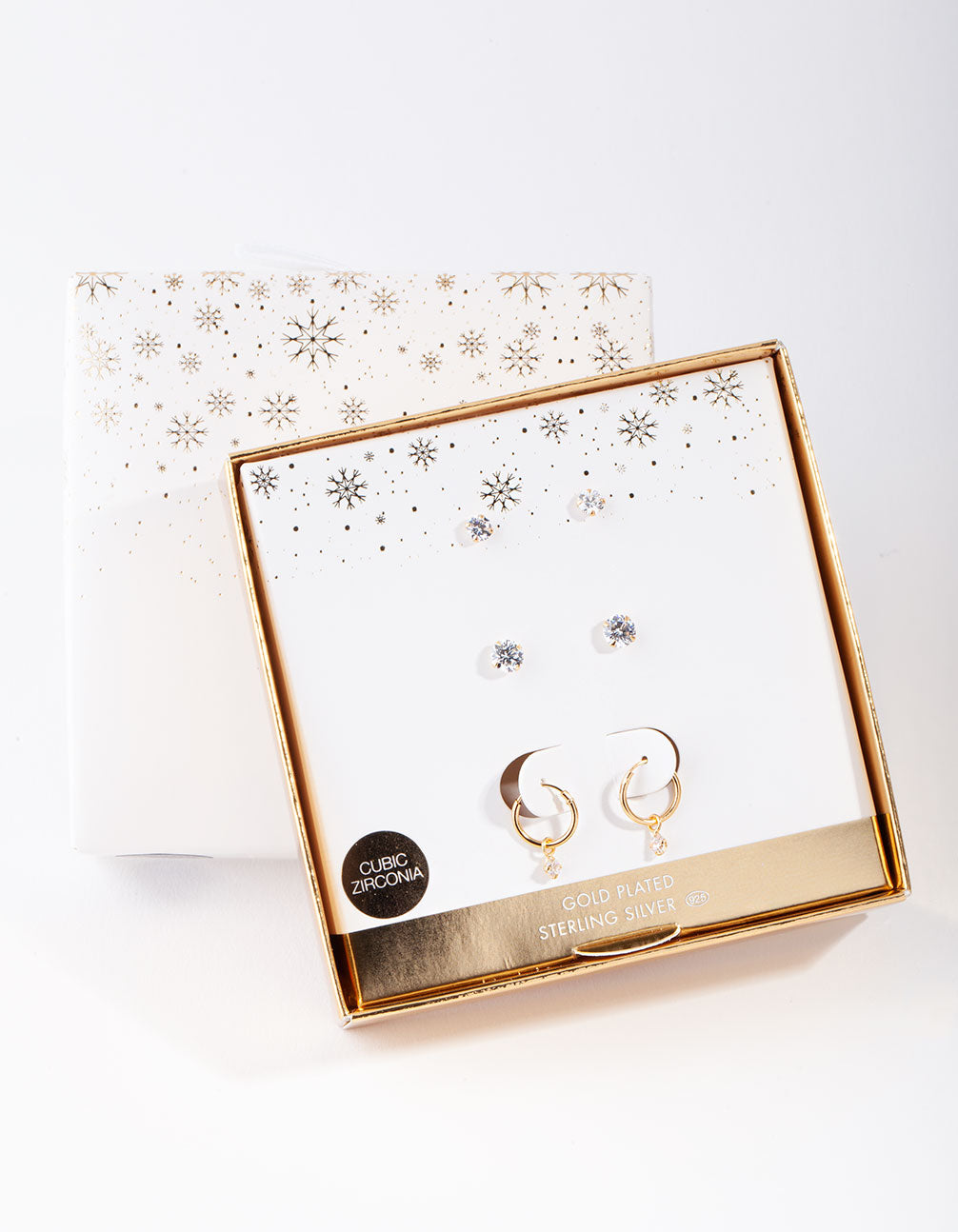 Gold Plated Sterling Silver Cubic Zirconia Stud and Hoop Earring 3 Pack