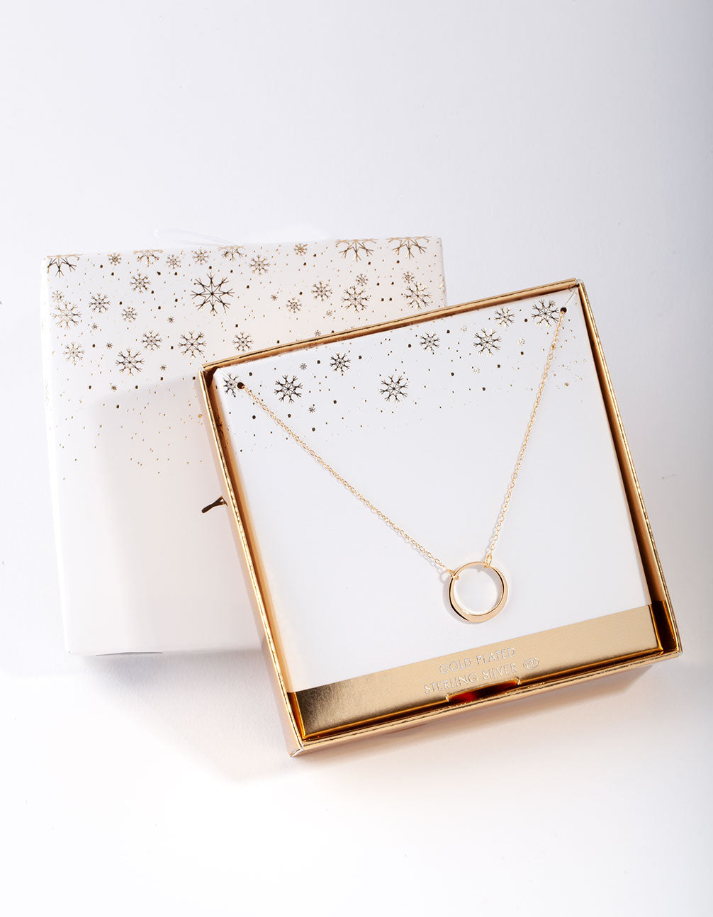 Gold Plated Sterling Silver Open Circle Necklace