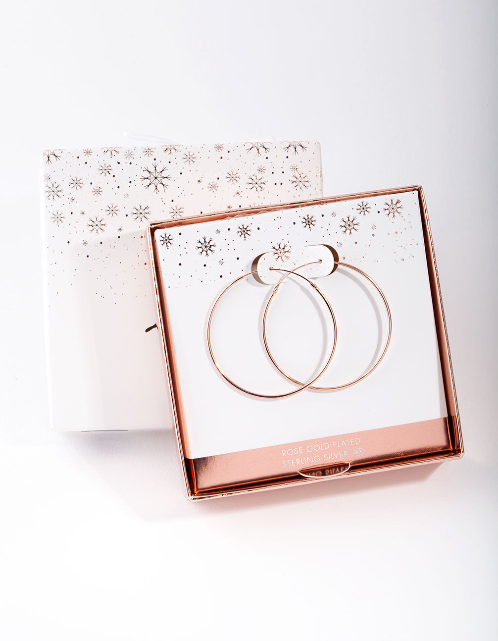 Rose Gold Plated Sterling Silver 40mm Plain Hoop Earring
