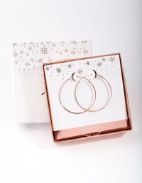 Rose Gold Plated Sterling Silver 40mm Plain Hoop Earring - link has visual effect only