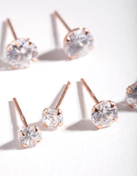 Rose Gold Plated Sterling Silver Graduating Crystal Stud Earring 3 Pack - link has visual effect only