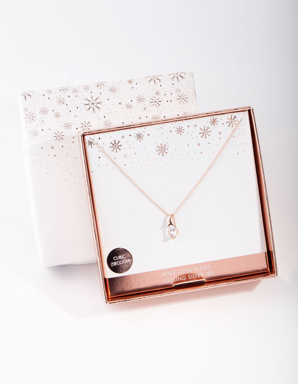 Rose Gold Plated Sterling Silver Cubic Zirconia Sleek Bale Necklace