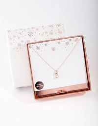Rose Gold Plated Sterling Silver Cubic Zirconia Sleek Bale Necklace - link has visual effect only