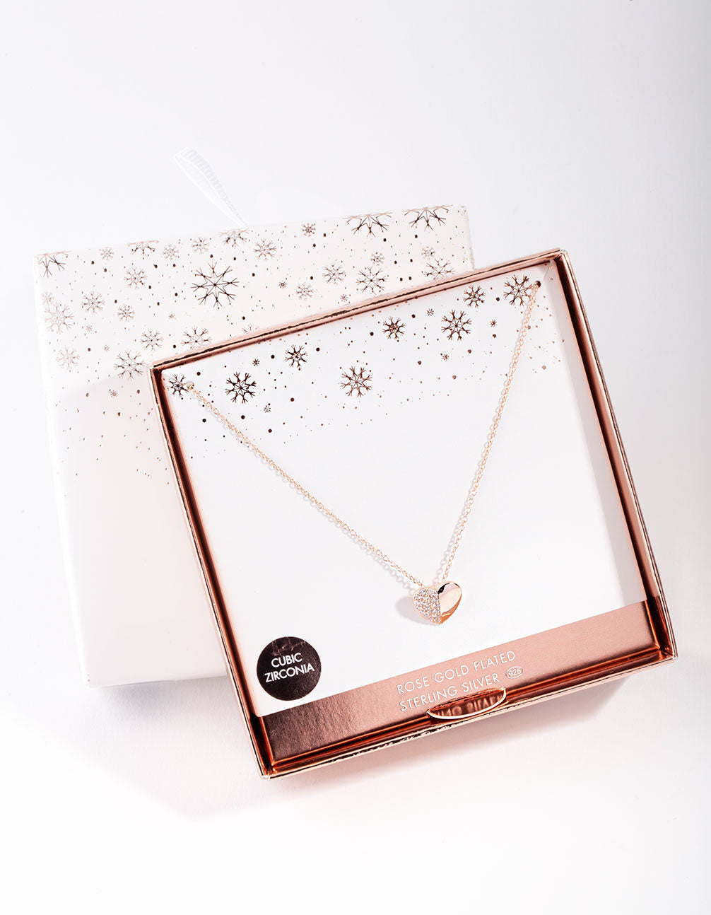 Rose Gold Plated Sterling Silver Half Pave Heart Necklace