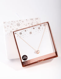 Rose Gold Plated Sterling Silver Half Pave Heart Necklace - link has visual effect only