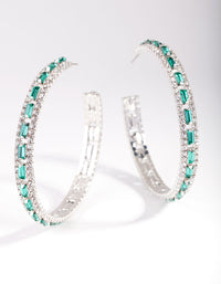 Rhodium Green Baguette Stone Centre Hoop Earring - link has visual effect only