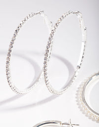 Rhodium Diamante and Pearl Hoop Earring Pack - link has visual effect only