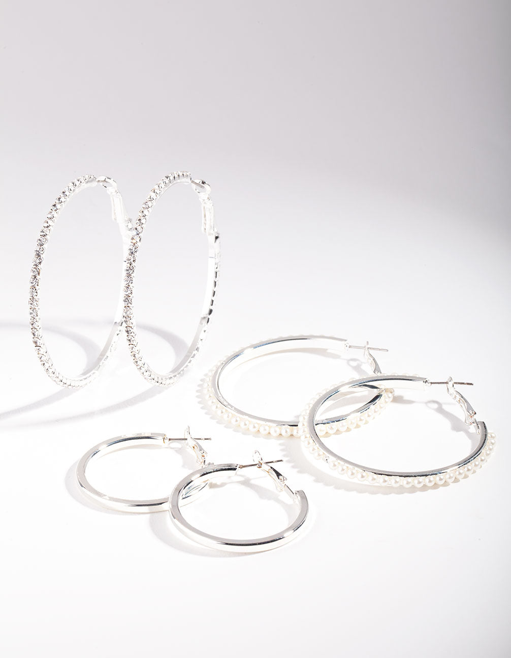 Rhodium Diamante and Pearl Hoop Earring Pack