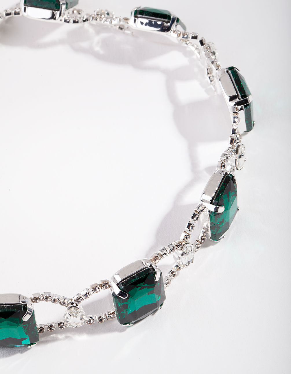 Silver Statement Emerald Choker Necklace