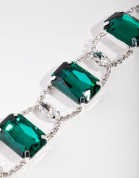 Silver Statement Emerald Choker Necklace - link has visual effect only